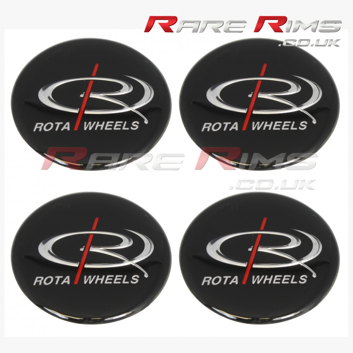 Set of 4 Rota Medium Top Centre Cap Gel Badge Stickers