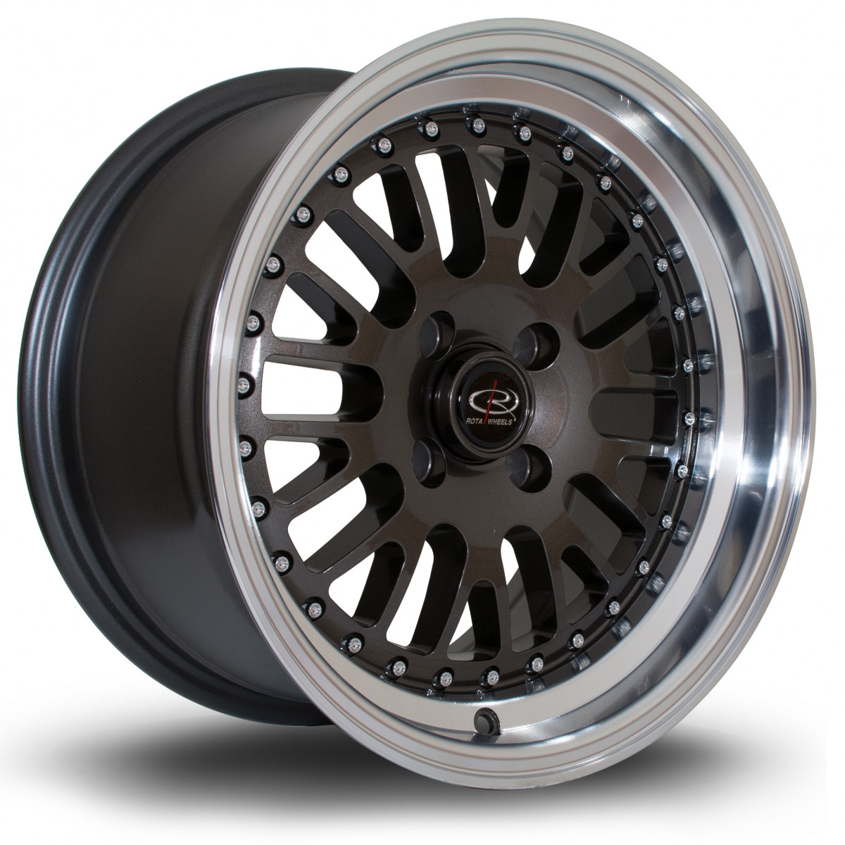 Flush 15x8 4x100 ET20 Gunmetal with Polished Lip