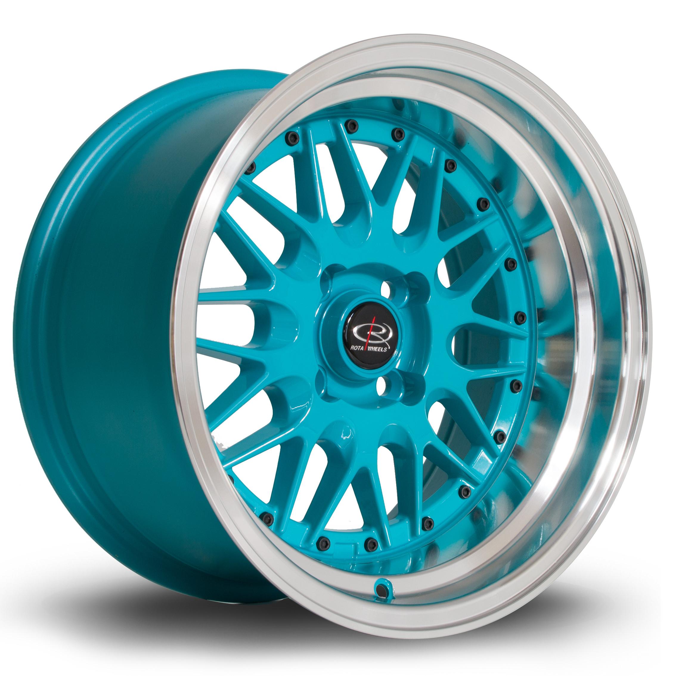 Kensei 15x8 4x100 ET0 Teal with Polished Lip - Rota Wheels