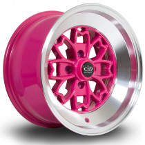 Aleica 15x8 4x100 ET0 Pink with Polished Lip