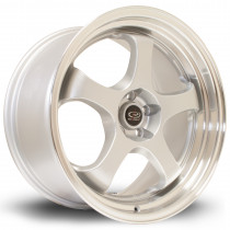 D2EX 18x9.5 5x100 ET38 Silver with Polished Lip