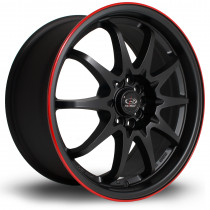 Fight 17x8 5x100 ET48 Flat Black with Red Lip