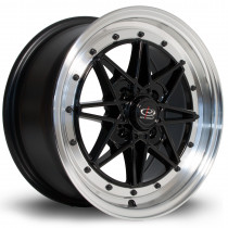 Flashback 15x7 4x100 ET40 Black with Polished Lip