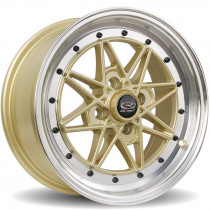 Flashback 15x7 4x100 ET40 Gold with Polished Lip