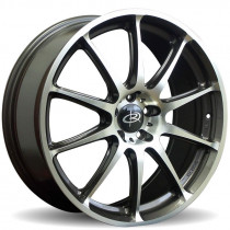 Gra 17x7.5 5x100 ET48 Gunmetal with Polished Face