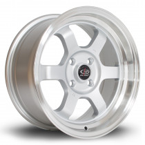 Grid-V 15x7 4x100 ET20 Silver with Polished Lip