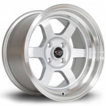 Grid-V 15x8 4x100 ET0 Silver with Polished Lip