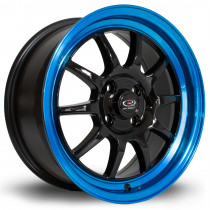 GT3 16x7 4x100 ET40 Black with Candy Blue Lip