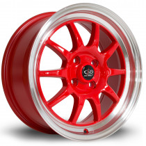GT3 16x7 4x100 ET40 Red with Polished Lip