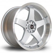 GTR-D 18x10 5x114 ET12 Silver with Polished Lip