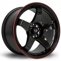 GTR 17x9.5 5x114 ET12 Gloss Black with Red Lip