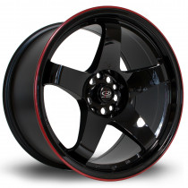 GTR 18x9.5 5x114 ET30 Gloss Black with Red Lip