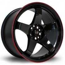 GTR 18x9.5 5x114 ET30 Gloss Black with Red Lip