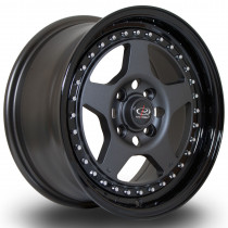 Kyusha 15x7 4x100 ET38 Flat Gunmetal with Gloss Black Lip