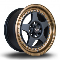 Kyusha 15x7 4x100 ET38 Flat Black with Bronze Lip