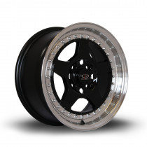 Kyusha 15x7 4x100 ET38 Black with Polished Lip