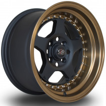 Kyusha 15x8 4x100 ET0 Flat Black with Bronze Lip
