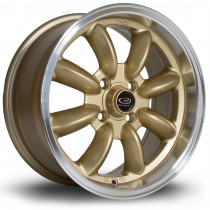 RB 15x7 4x100 ET30 Gold with Polished Lip