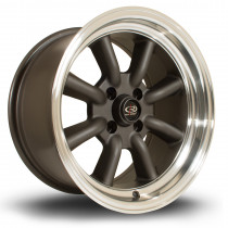 RKR 15x8 4x100 ET0 Flat Gunmetal with Polished Lip