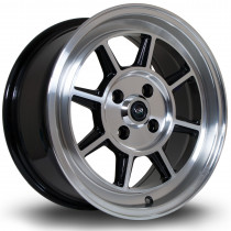 BM8 15x7 4x100 ET35 Gloss Black with Polished Face