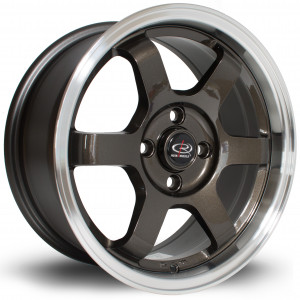 Grid 15x7 4x100 ET40 Gunmetal with Polished Lip