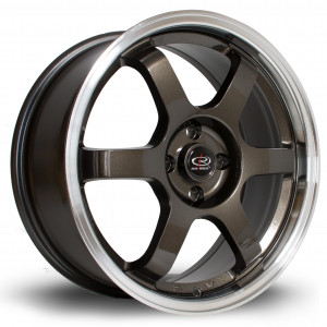 Grid 17x7.5 4x100 ET45 Gunmetal with Polished Lip