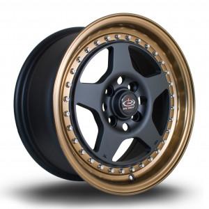 Kyusha 15x7 4x100 ET38 Flat Black with Bronze Lip