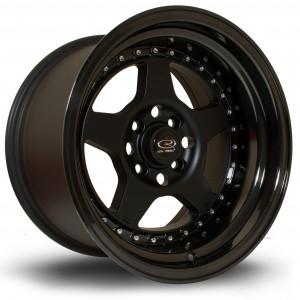 Kyusha 15x9 4x100 ET0 Flat Black with Gloss Black Lip